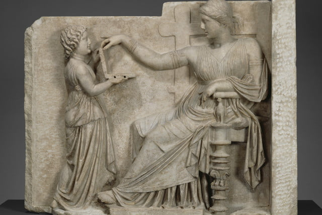 ancient greek laptop sculpture conspiracy gravestone with a woman and her attendant