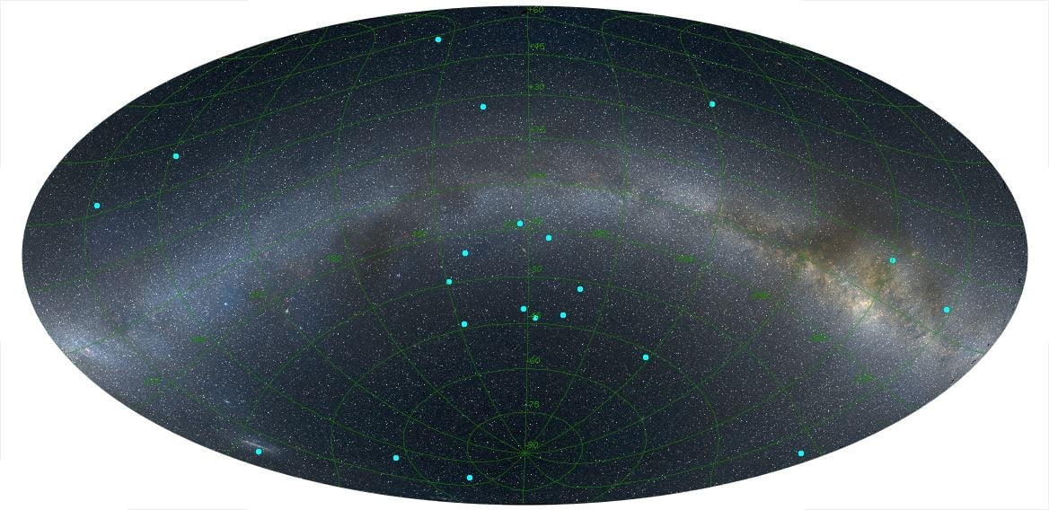 Image of the distribution of gamma-ray bursts (blue dots).