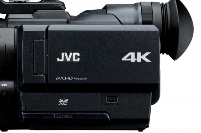 jvc puts oversized super  mm sensor upcoming micro four thirds k camcorder gy hmq side