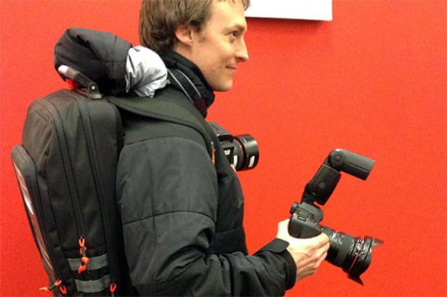 Pulitzer-winning photographer Josh Haner displays his streaming backpack. Credit: New York Times
