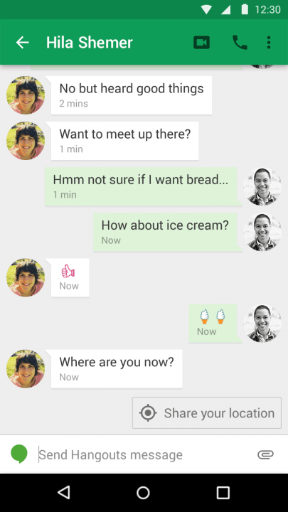 google hangouts android app location sharing upate