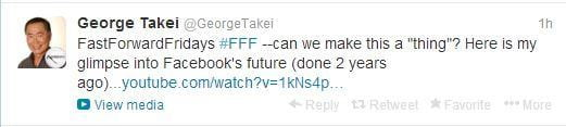 George Takei tweet with hashtags