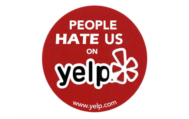 Hate us on Yelp badge