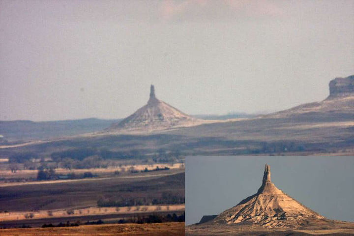A photo of Chimney Rock captured at 20 miles with the 1000mm lens and also at 7 miles distance (insert)