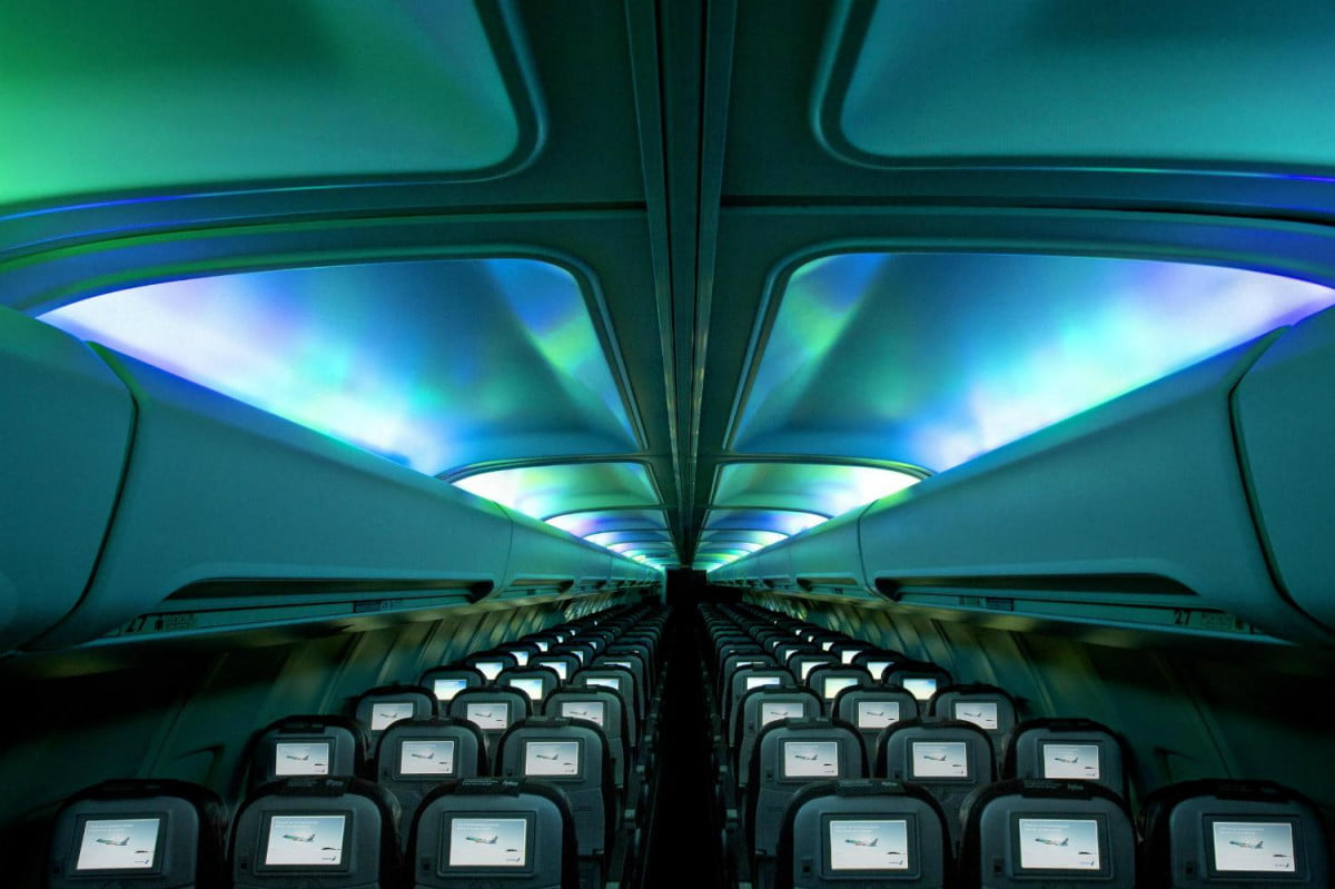 another reason go iceland planes led ceiling recreates northern lights hekla aurora plane interior