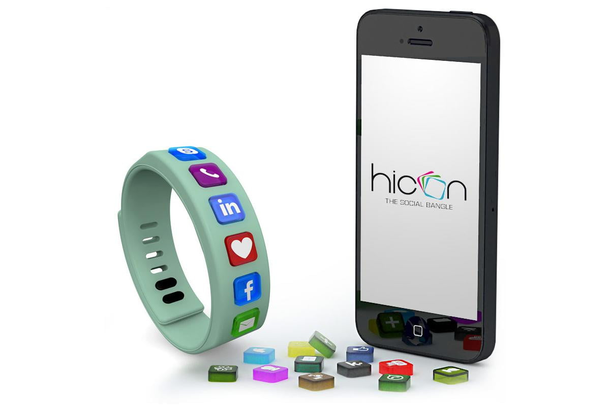 wearable social media hicon brings networking to your wrist with a colorful bracelet