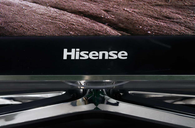 Hisense XT LED 710 Series Smart TV front logo and stand macro