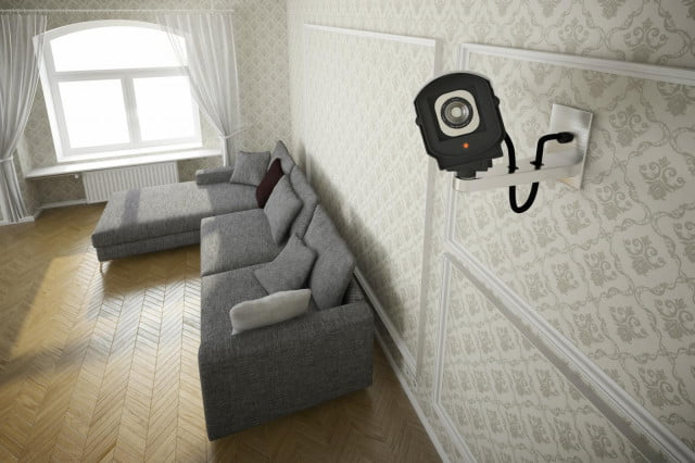 Home security camera in living room