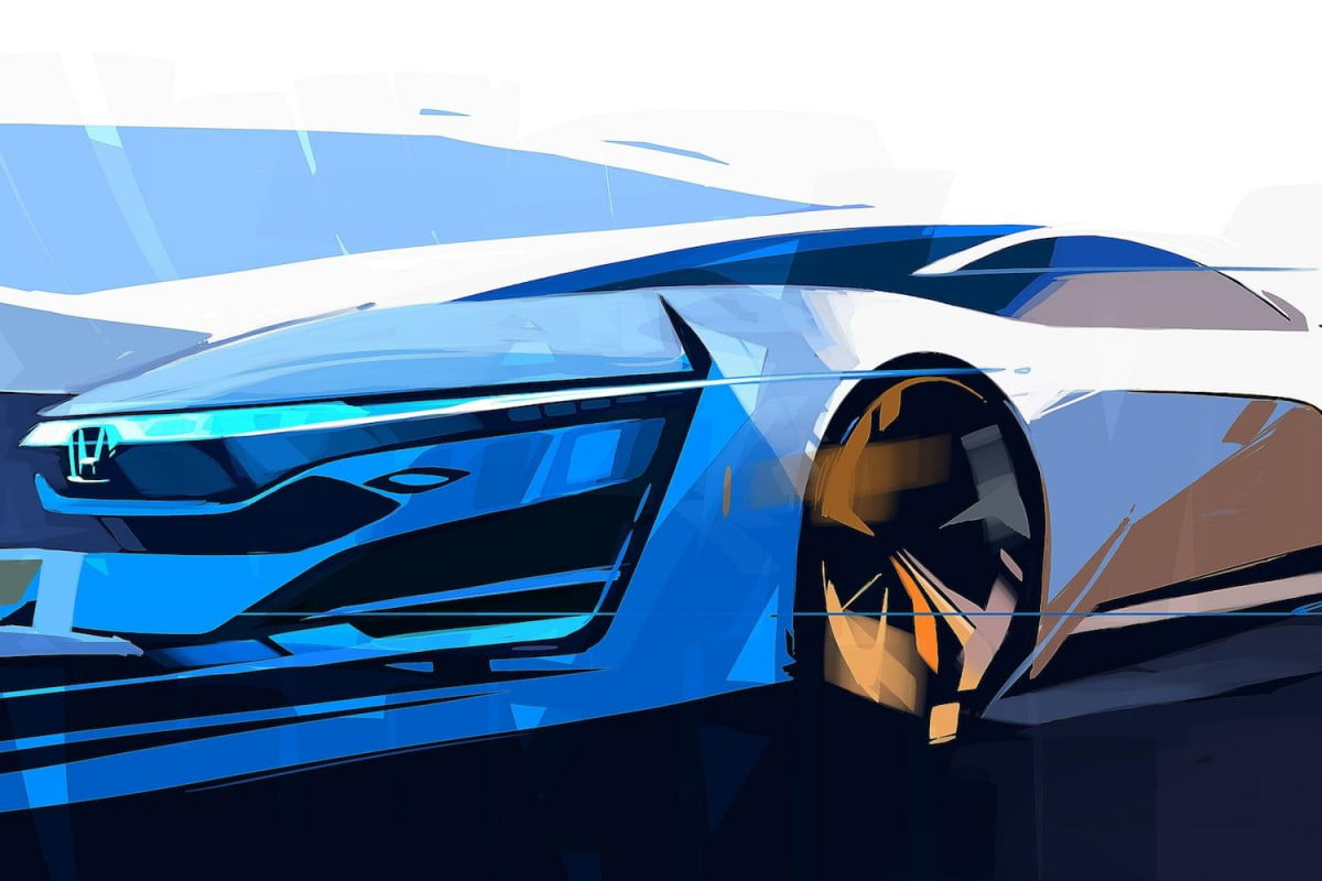 la auto show honda fcev concept drawing teased teaser