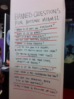 Hotline Miami 2 banned questions