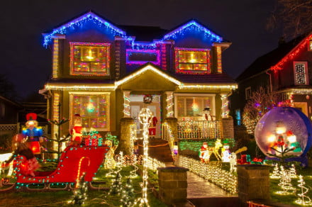 House Decorated With Christmas Lights Decorations