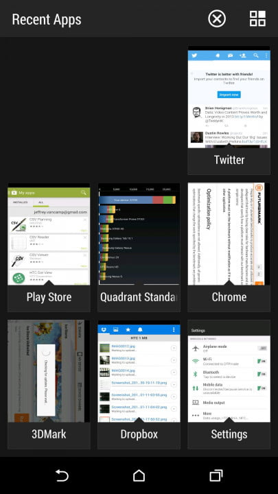 htc one m  review screenshot recent apps