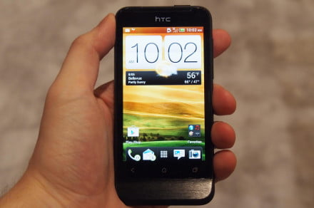The front of the HTC One V at CTIA 2012