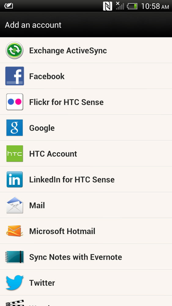 HTC One X Plus review screenshot account android 4.1