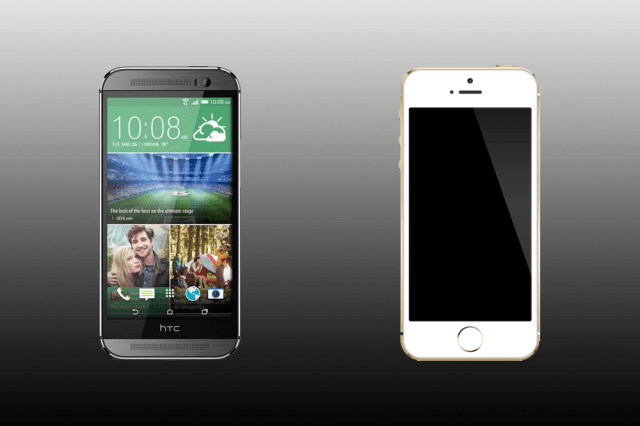 htc one m  vs iphone s htconem