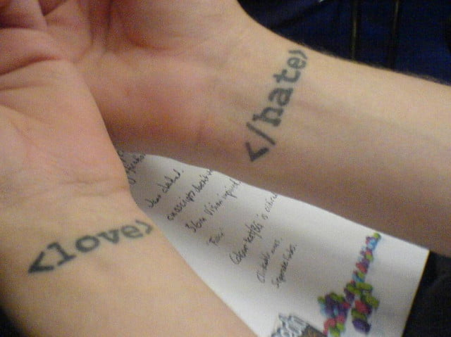 HTML love and hate tattoos