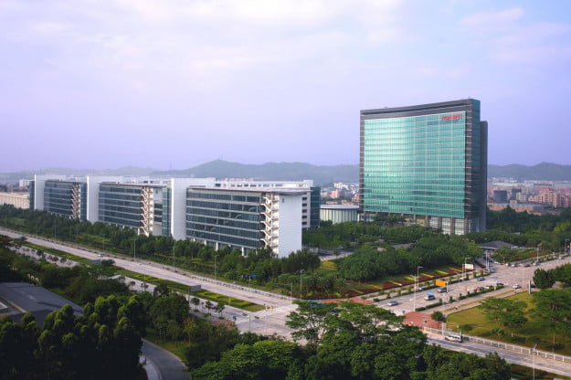 Two modern buildings house Huawei' s R&D teams at Huawei Global Headquarters in Shenzhen.