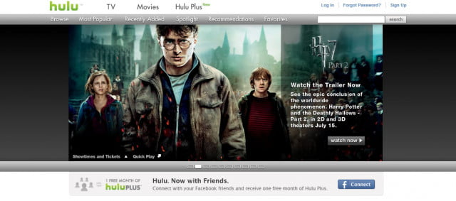 hulu plus facebook connect