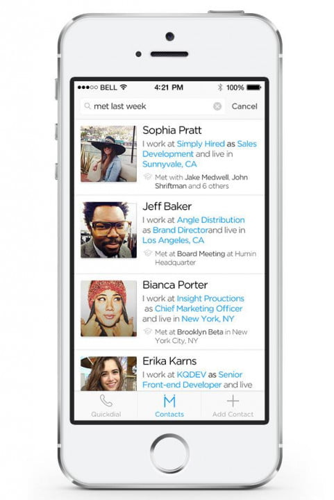 humin gives iphone contacts human touch app search