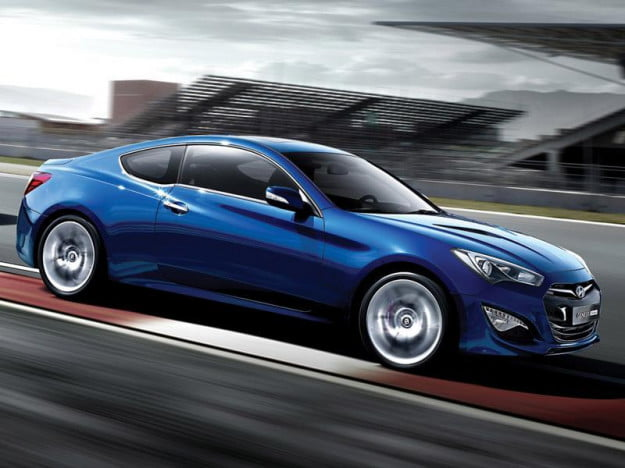 Hyundai Genesis Coupe profile blue
