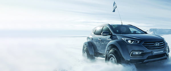 Giant tires and jet fuel helped this Hyundai Santa Fe cross Antarctica