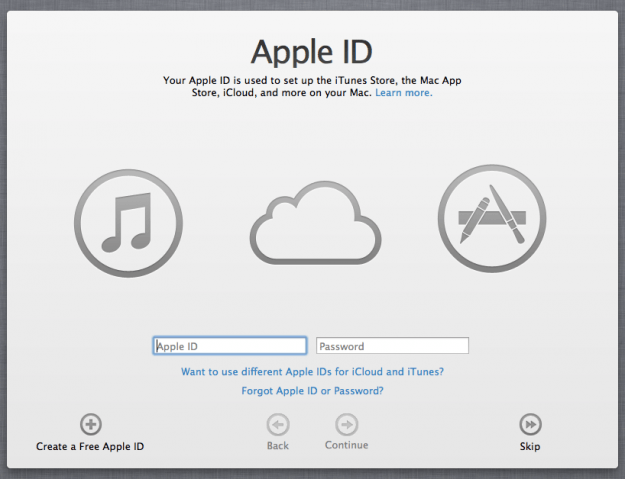 OS X Mountain Lion iCloud sign in