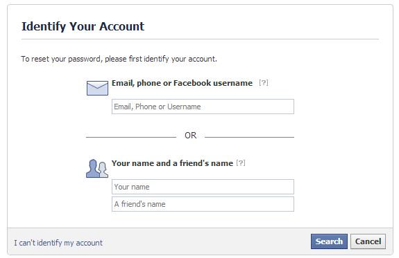 identify account on facebook