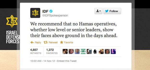 IDF tweet warning