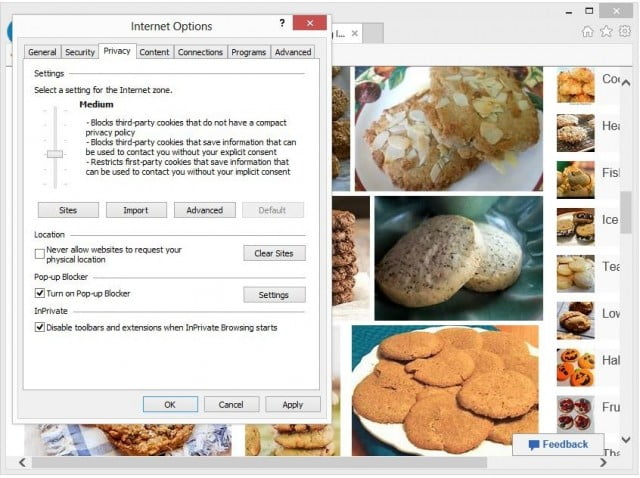 Privacy options in internet explorer