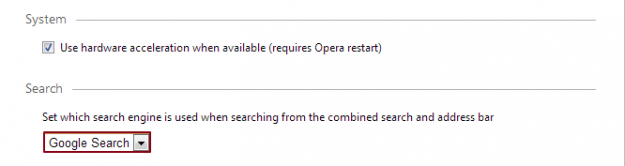 Google as Default Search Engine in Opera