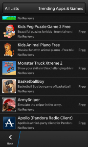 BlackBerry 10 World app store