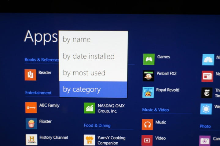 windows  preview review all apps view categories
