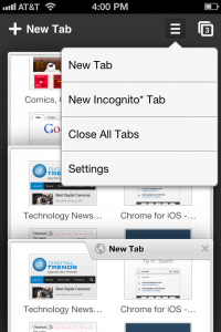chrome iphone close all tabs