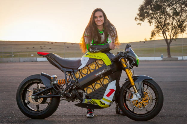 Shelina Moreda with her Brammo electric racebike