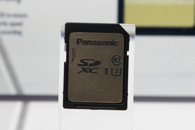 A mock-up of an upcoming Panasonic SDXC card fast enough to support 4K video capture.