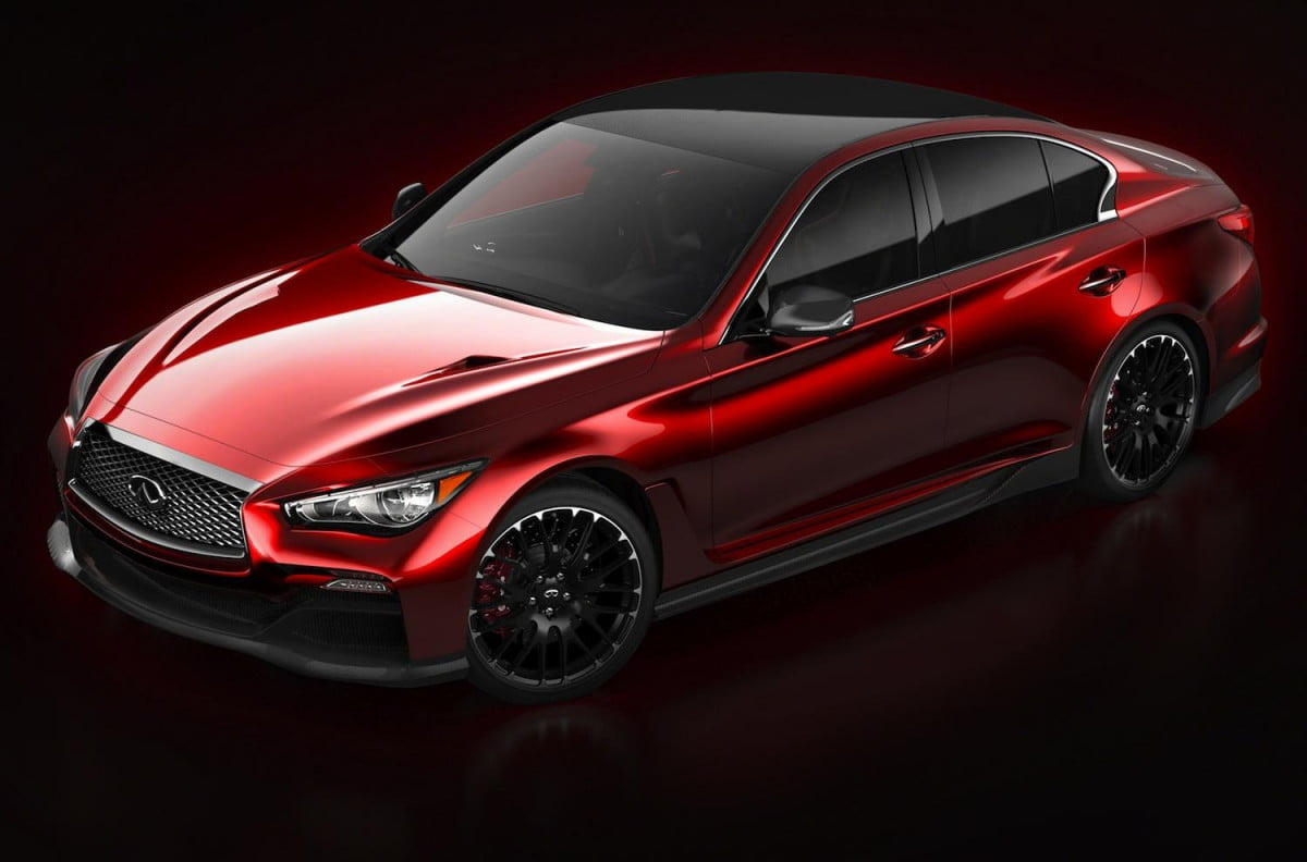 infiniti gives first glimpse q  eau rouge concept performance sedan surprise red