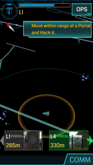 Your location, complete with targets, in Ingress for iOS.