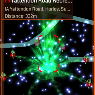 A portal, ready to capture, in Ingress for iOS.