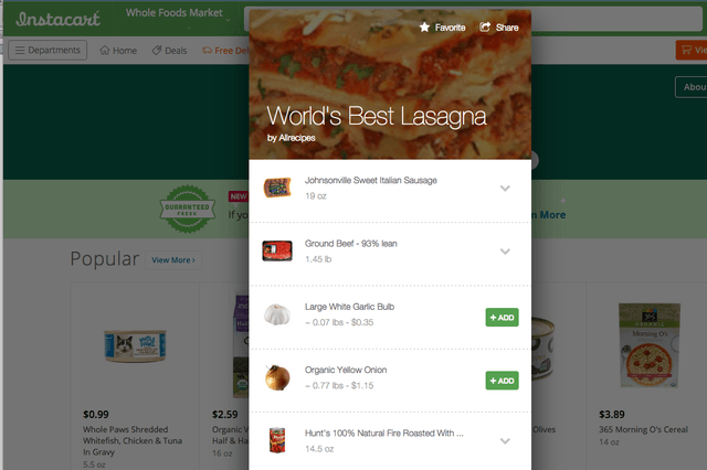 allrecipes and instacart pair up for grocery delivery recipes