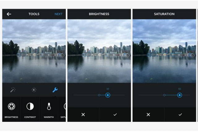 This screenshot shows Instagram's slider feature, which can be used to fine-tune various settings.