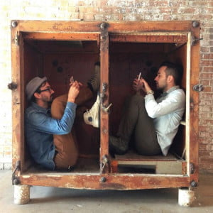 @kylesteed and @brenton_clarke graming in a box at the American Beauty Lofts in Dallas, TX after their interview for Instagram is. photo by @technopaul