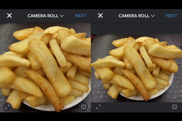 Tapping the format icon on the lower left changes the orientation from square (left) to landscape (right) or portrait orientations.
