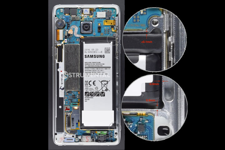 Teardown shows tiny space between Galaxy Note 7 body and battery