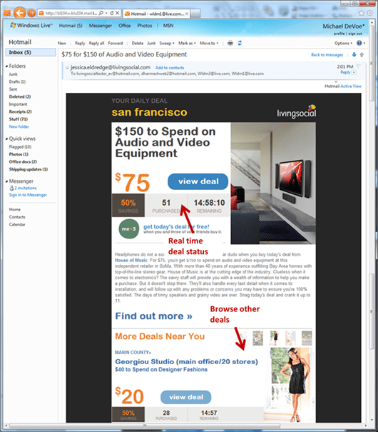 Interactive email from LivingSocial