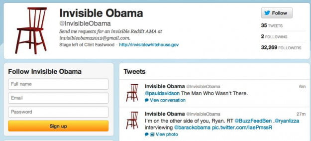 Invisible Obama on Twitter