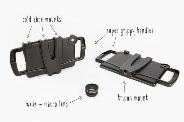 iOgrapher has connectors allowing you to attach various camera accessories to your iPad.