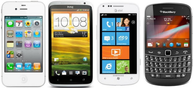 iOS, Android, Windows Phone, and BlackBerry phones