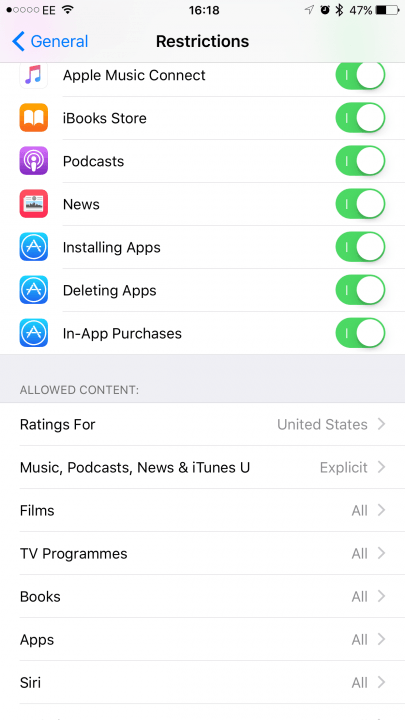 how to turn off in app purchases ios iphone ipad restrictions option