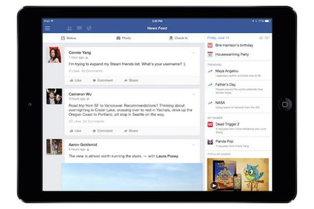 facebook ipad app games trending videos