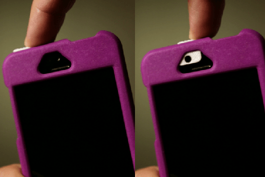ipatch case protects iphone camera lens purple